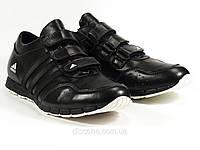 Натуральные кожаные черные мужские кроссовки на липучке Adidas, фото 1