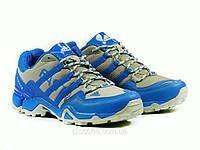 Кроссовки текстиль серые/синие Adidas шнурок, фото 1