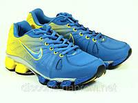 Мужские спортивные кроссовки синие с желтым кожаные  реплика, фото 1