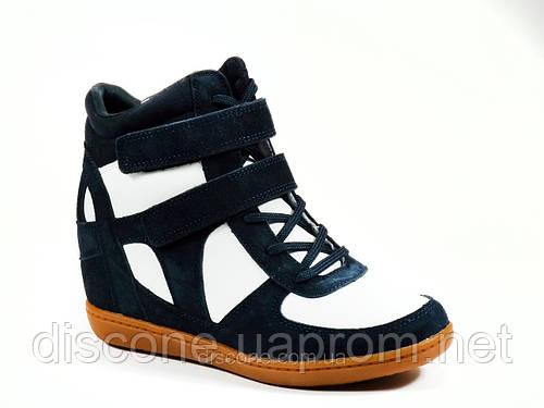 Сникерсы женские синие белые шнурок липучка