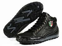 Высокие зимние кожаные ботинки мужские на меху черные молния, фото 1