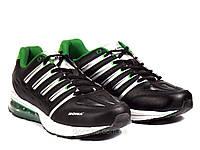 Кроссовки  мужские кожанные черные/зеленые  Bona подошва пена, фото 1