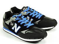 Черные кроссовки мужские шнурок с синей отделкой New Balance, фото 1