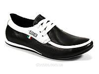 Мокасины мужские натуральные кожаные черные с белым демисезон GS-комфорт, фото 1