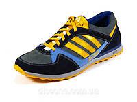 Мужские кроссовки натуральный нубук синие/серые/желтые спортивные Adidas ZX750 шнурок, фото 1
