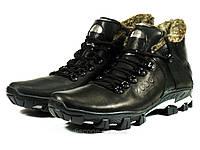 Ботинки зимние мужские на меху черные кожаные шнурок, фото 1