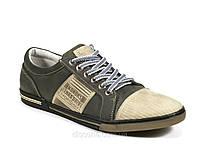 Туфли спортивные серые мужские натуральный нубук демисезон шнурок Konors, фото 1