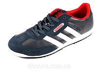 Мужские кроссовки черные кожаные спортивные Adidas белые полоски, фото 1
