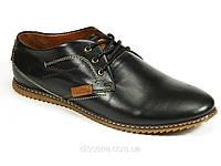 Натуральные кожаные спортивные туфли черные мужские демисезон шнурок LC, фото 1