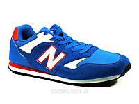 Мужские кроссовки синие текстиль с замшевыми вставками New Balance шнурок, фото 1