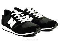 Мужские кроссовки черные текстиль с замшевыми вставками New Balance шнурок, фото 1