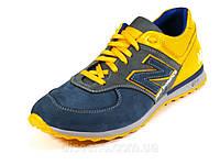 Мужские кроссовки натуральный нубук синие/желтые спортивные New Balance шнурок, фото 1