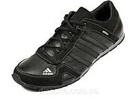 Мужские кроссовки черные натуральные кожаные шнурок Adidas, фото 1