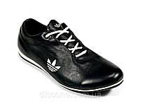 Мужские черные кроссовки натуральные кожаные шнурок Adidas, фото 1