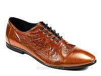 Туфли коричневые натуральные кожаные мужские демисезон шнурок Lucky Choice, фото 1