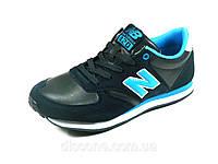 Кроссовки синие унисекс шнурок кожа с замшевыми вставками New Balance, фото 1
