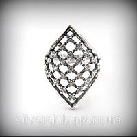 1015 Серебряное кольцо Ромб 925 пробы из ювелирного комплекта