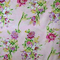 Дешевые постельные ткани Букеты на розовом