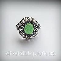 Серебряное кольцо Чалма с хризопразом 925 пробы 1013