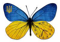 "Бабочка ""Украина"", родина, Настенные часы ""бабочки"" (30х35 см), часы для дома, часы для детской"