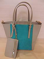 Красивая большая сумка женская кожаная Италия Серый с бирюзовой вставкой