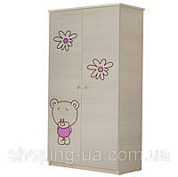 Детский шкаф гравированный Мишка розовый BABY BOO