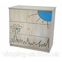 Детский комод гравированный голубой цветок BABY BOO