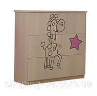 Детский комод гравированный Жираф розовый BABY BOO