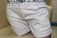 Бежевые хлопковые шорты на лето, размеры 42,44,46 маломерит