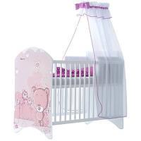 Кроватка белая Розовый Мишка BABY BOO