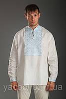 Вышиванка мужская. Лен белый и черный. Вышивка белым, голубым.