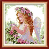 Набор для вышивания крестиком с печатью на ткани Ангелочек в саду канва 11СТ