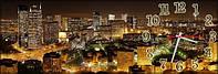 Настенные часы панорамные Ночной город (30х90 см), часы для дома, часы картина