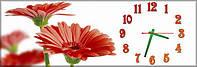 Настенные часы панорамные, кварцевые Цветы (30х90 см), часы для дома, часы картина