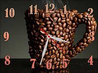 Настенные часы картина Чашка кофе, Кофейные зерна, кварцевые (30х40 см), часы для дома, часы картина