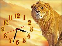 Настенные часы картина Лев, кварцевые (30х40 см), часы для дома, часы картина