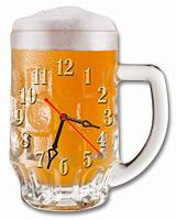 Настенные часы картина Пиво, Бокал пива, Кружка пива, кварцевые (30х38 см), часы для дома, часы картина
