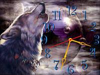 Настенные часы картина Волк, кварцевые (30х40 см), часы для дома, часы картина