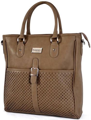 Классическая женская сумка из кожзаменителя Derby 0570336: бежевая, серая