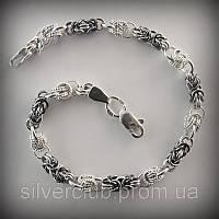 Браслет женский серебряный плетения Мальвина с орехом 214