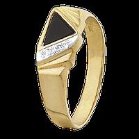 Серебряное кольцо с позолотой и ониксом «013»