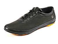 Черные мужские спортивные туфли натуральные кожаные  летние шнурок GS-комфорт перфорация, фото 1