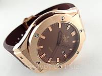 Часы мужские HUBLOT - Big Bang каучуковый коричневый ремешок, цвет золото, японский кварцевый механизм