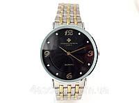 Мужские часы Vacheron Constantin кварцевые, цвет корпуса серебро, черный циферблат