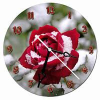 Часы настенные круглые арт12, роза в снегу 30х30 хороший Подарок