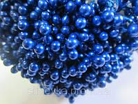 Тычинки для цветов круглые,  упаковка - 50 шт. (пучок из 25 двухсторонних нитей) Синие