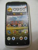 Чехол силиконовый + защитная плёнка для телефона смартфона Lenovo S820 белый