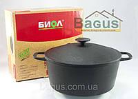 Кастрюля чугунная литая 5 л с чугунной крышкой, посуда чугунная Биол (0805)