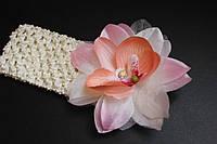 """Красивая повязка для девочки """" Орхидея"""" крем"""