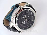 Мужские часы Patek Philippe - SKY MOON tourbillon на кожаном ремешке, цвет корпуса - серебро, черный циферблат